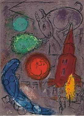 Lithograph Chagall - Saint-Germain-des-Prés