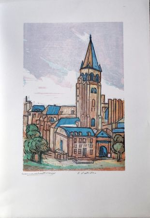 Linocut Castellani - Saint-Germain des prés