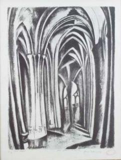 Lithograph Delaunay - Saint severin