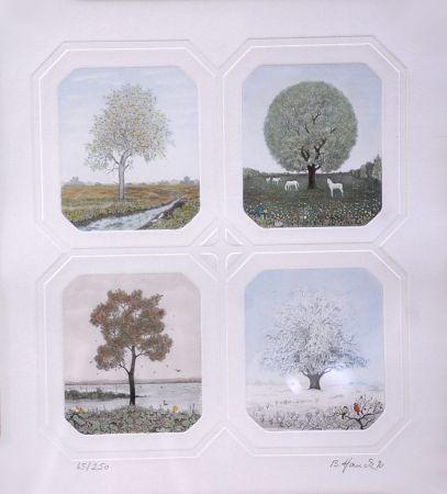 Engraving Hauck - Saisons des Arbres - Season Trees