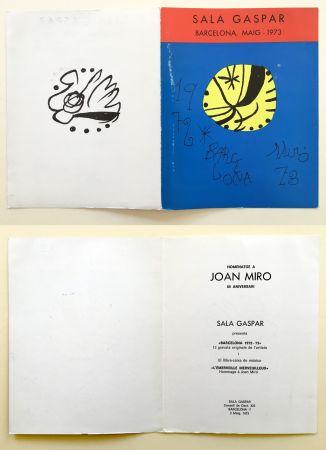 Offset Miró - SALA GASPAR BArcelone 1973. Carton pour un hommage à Miro