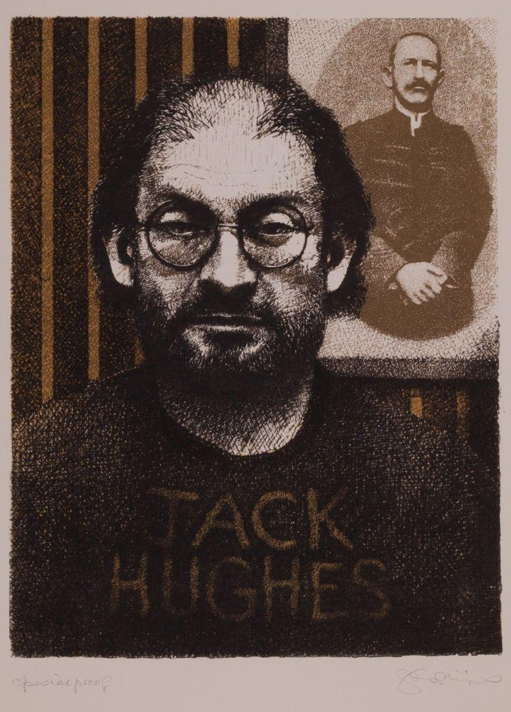 Lithograph Phillips - Salman Rushdie as DIY Zola