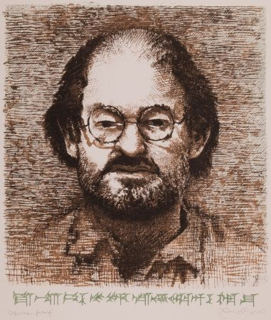 Lithograph Phillips - Salman Rushdie with Cuneiform