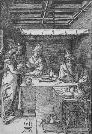 Woodcut Durer - Salome Presenting the Head of John the Baptist to Herodias