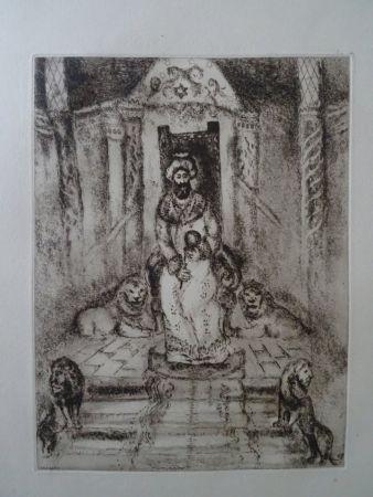 Engraving Chagall - Salomon sur son throne