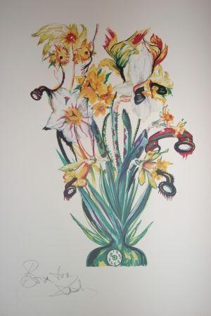 Lithograph Dali - Salvador Dali Daffodils of Love (surrealistic flowers)