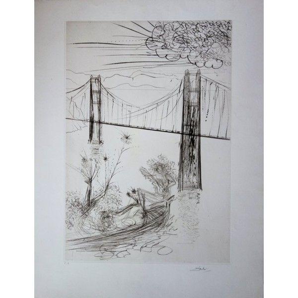 Etching Dali - San Francisco : Golden Gate Bridge
