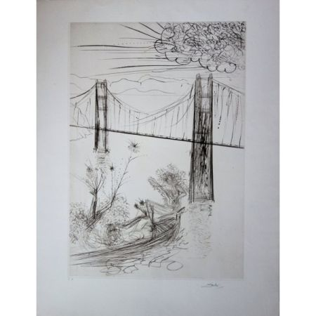 Etching Dali - San Francisco : Golden Gate Bridge