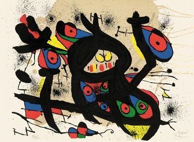 Lithograph Miró - Sans titre