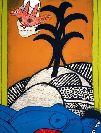 Lithograph Corneille - Sans titre ( femme bleue couchée)