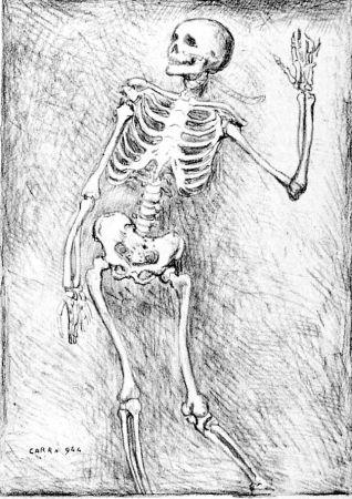 Lithograph Carra - Scheletro danzante