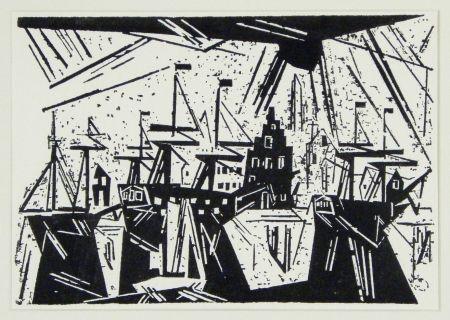 Woodcut Feininger - Schiffe Am Hafenquai