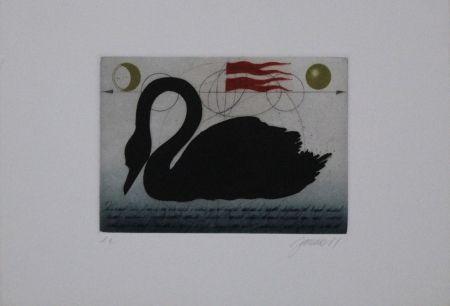 Etching And Aquatint Janak - Schwarzer Schwan / Black Swan