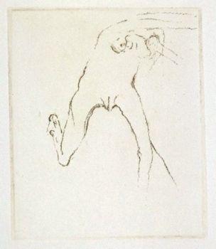 Etching Beuys - Schwurhand: Frau rennt weg mit Gehirn