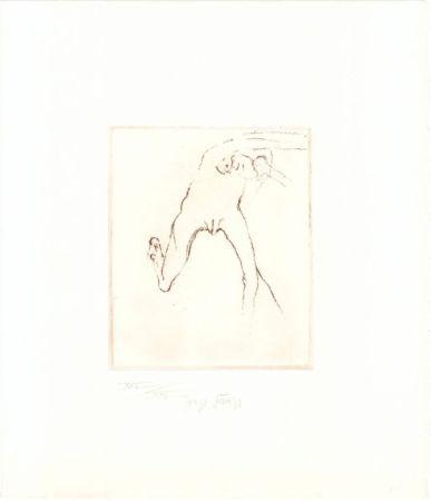 Etching And Aquatint Beuys - Schwurhand: Frau rennt weg mit Gehirn