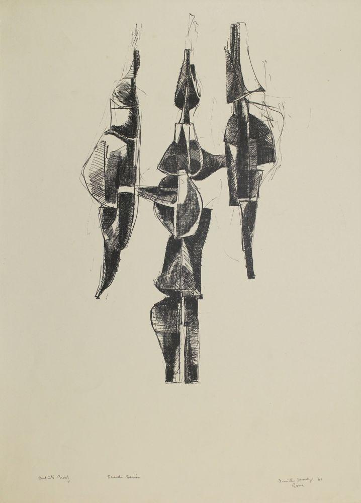 Lithograph Hadzi - Scudi Series