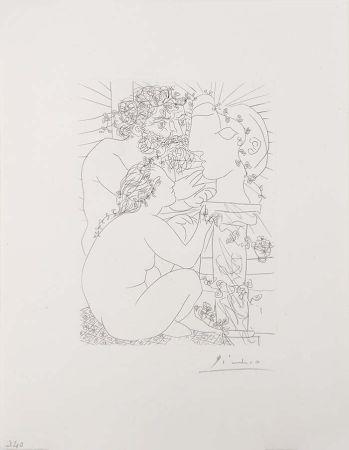 Etching Picasso - Sculpteur Avec Son Modele, Sa Sculpture Et Un Bol D'Anemones (Sculptor with His Model, His Sculpture, and a Bowl of Anemones) from the Vollard Suite