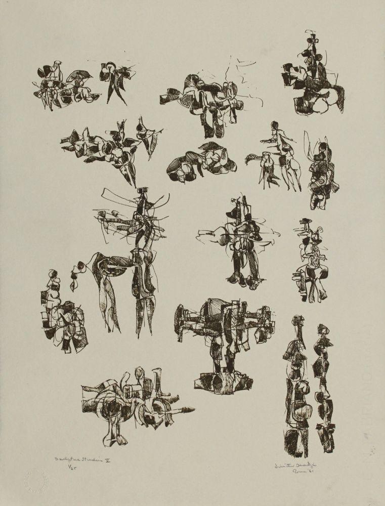Lithograph Hadzi - Sculpture Studies V