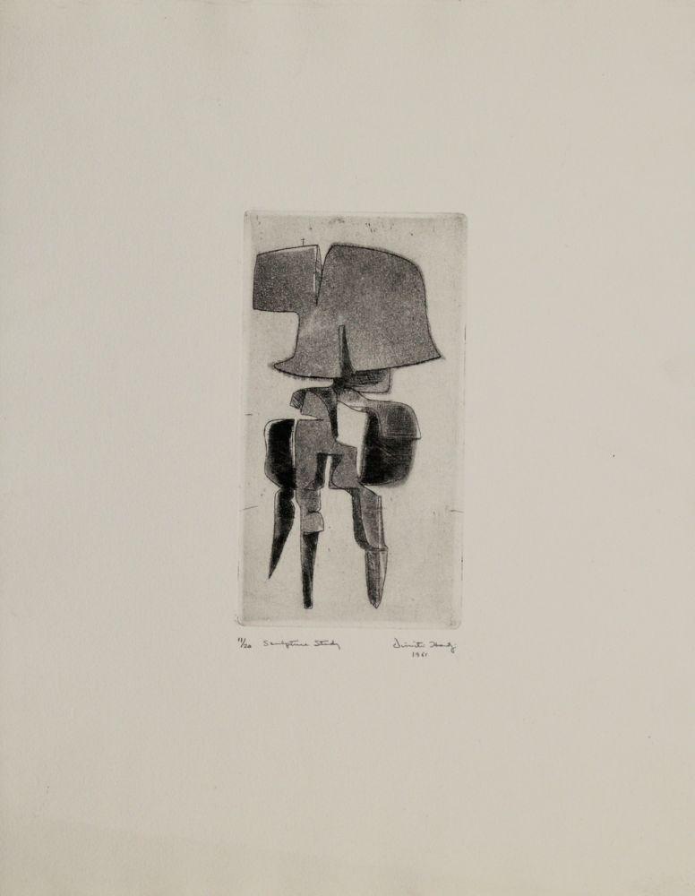 Etching And Aquatint Hadzi - Sculpture Study
