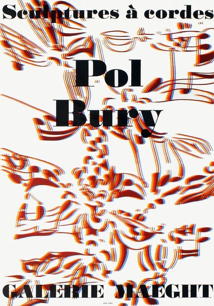 Lithograph Bury - SCULPTURES À CORDES : Affiche pour l'exposition à la Galerie Maeght en 1974. Lithographie originale.