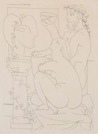 Engraving Picasso - Sculteur avec couple et modele accroupì.