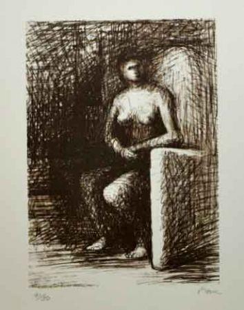 Lithograph Moore - SEATED FIGURE III DARK ROOM