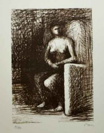 Lithograph Moore - SEATED FIGURE III DARK ROOM