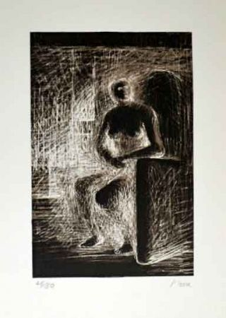 Lithograph Moore - SEATED FIGURE IV REVERSE LIGHTING