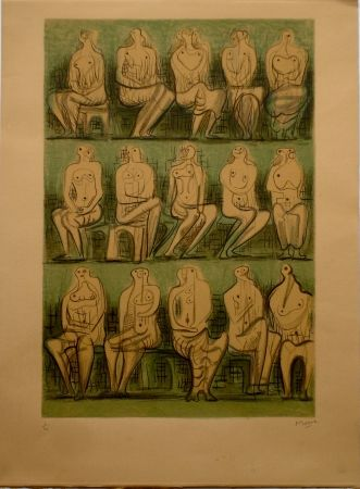 Lithograph Moore - Seated Figures