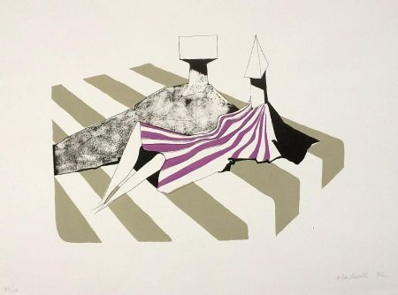 Lithograph Chadwick - Seated Figures on Stripes II