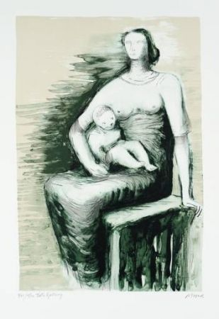 Lithograph Moore - Seated Mother & Child