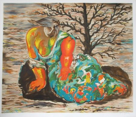 Lithograph Chia - Seated Woman