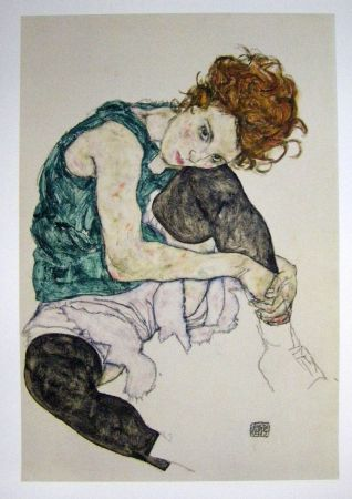 Lithograph Schiele - Seated women