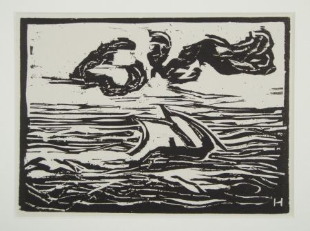 Woodcut Heckel - Segelboot (Sailing Boat)