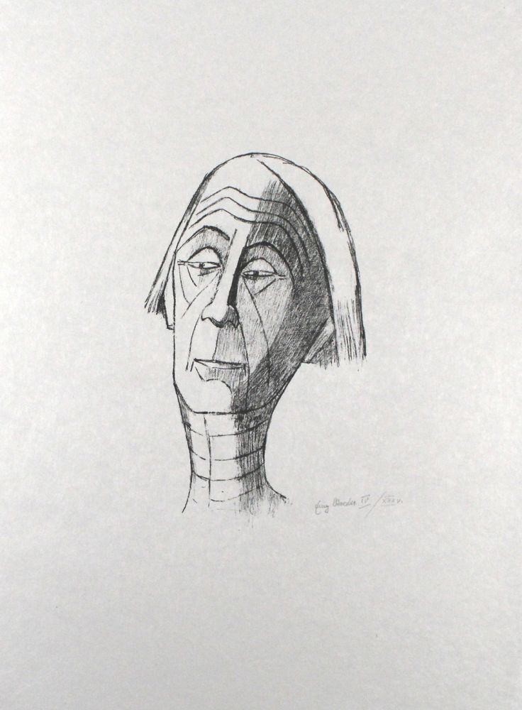 Lithograph Roeder - Selbstbildnis