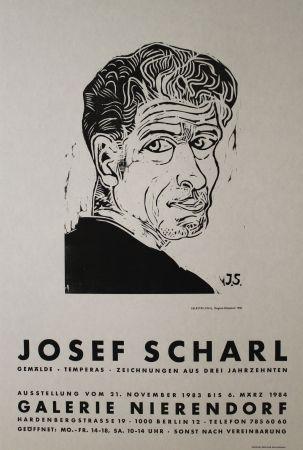 Woodcut Scharl - Selbstbildnis