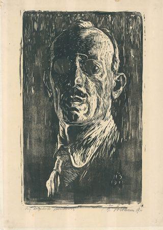 Woodcut Soltmann - Selbstbildnis