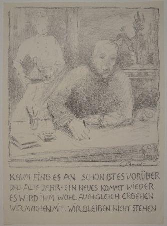 Lithograph Amiet - Selbstbildnis am Zeichentisch mit Frau
