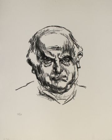 Lithograph Meidner - Selbstbildnis en face