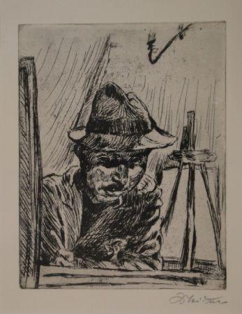 Etching Meidner - Selbstbildnis (mit Hut im Atelier)