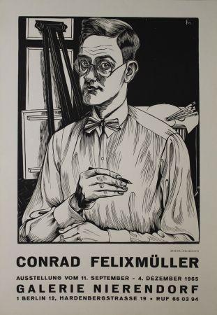 Woodcut Felixmuller  - Selbstbildnis mit Zeichenstift