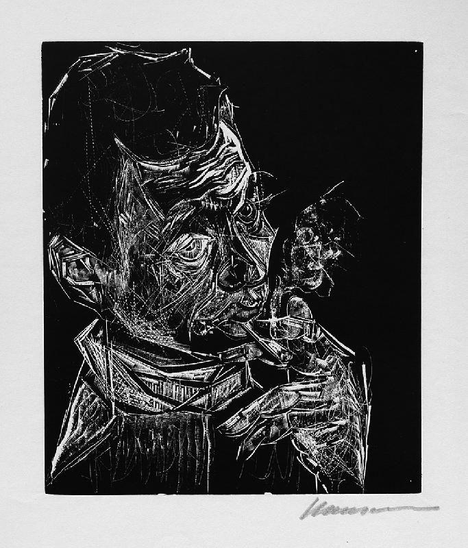 Woodcut Hansen-Bahia - Selbstbildnis, rauchend / Self-Portrait, Smoking