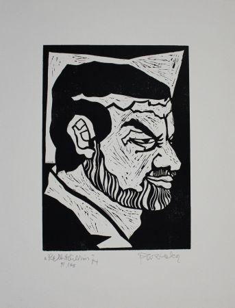 Linocut Ruzicka - Selbstbildnis / Self-Portrait