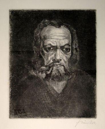 Etching Schürch - Selbstporträt en face mit Pfeife