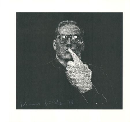 Linocut Grützke - Selbstportrait