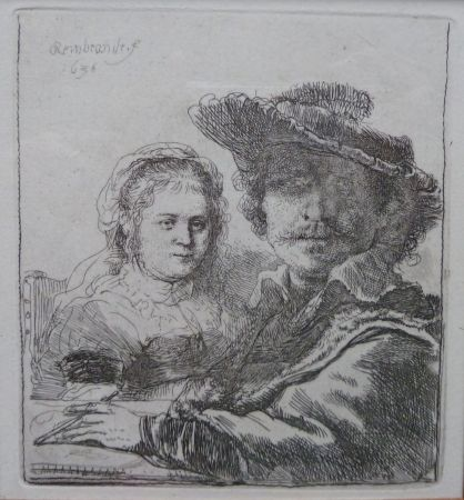 Etching Rembrandt - Self-portait with his wife Saskia.