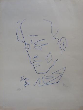 Lithograph Cocteau - Self-Portrait