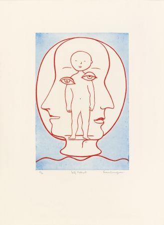 Etching And Aquatint Bourgeois - Self-Portrait (Weitman 12)