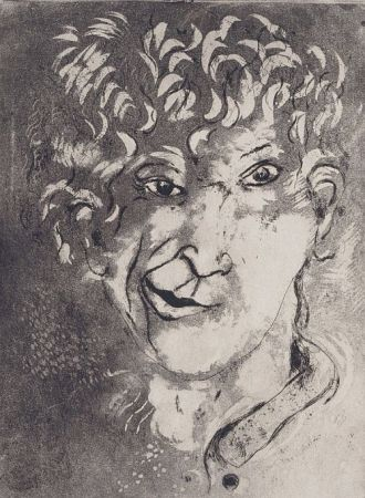Etching And Aquatint Chagall - Self-Portrait with Grimace