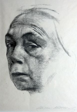 Lithograph Kollwitz - Self Portrait